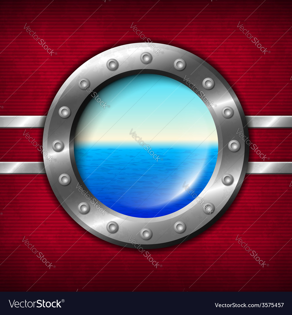 Ship porthole with seascape vector | Price: 1 Credit (USD $1)