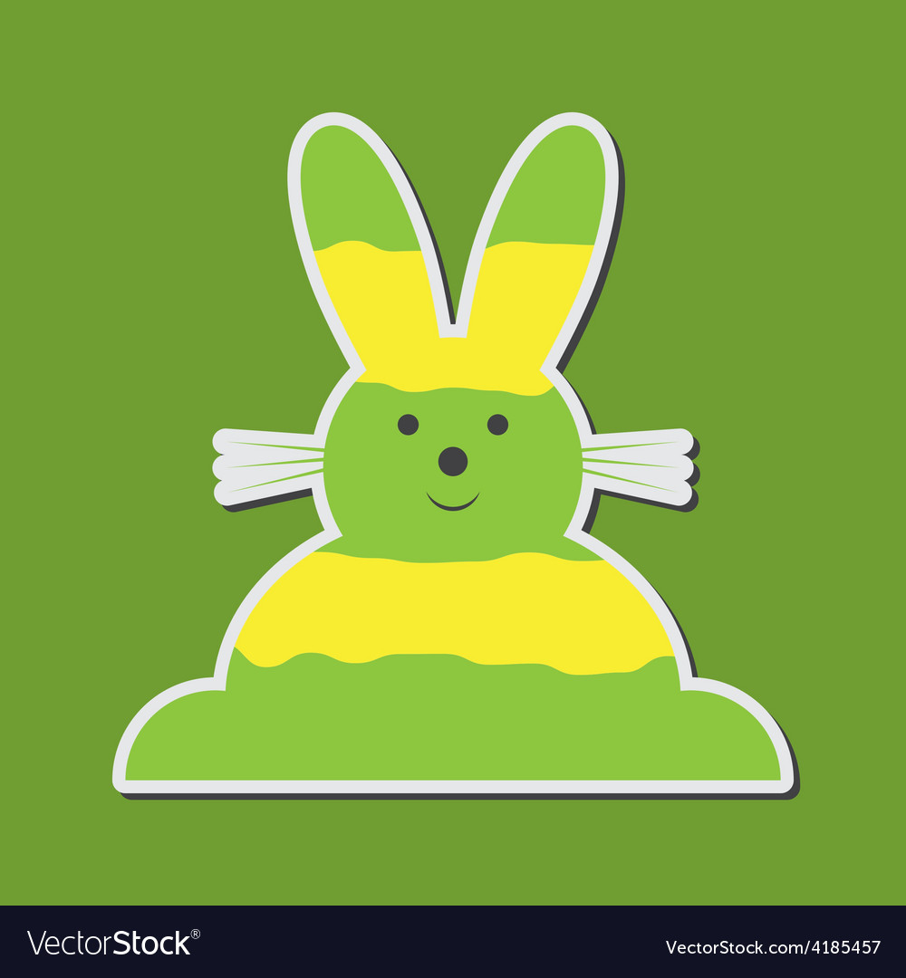 Sitting smiling greenish yellow easter bunny vector | Price: 1 Credit (USD $1)