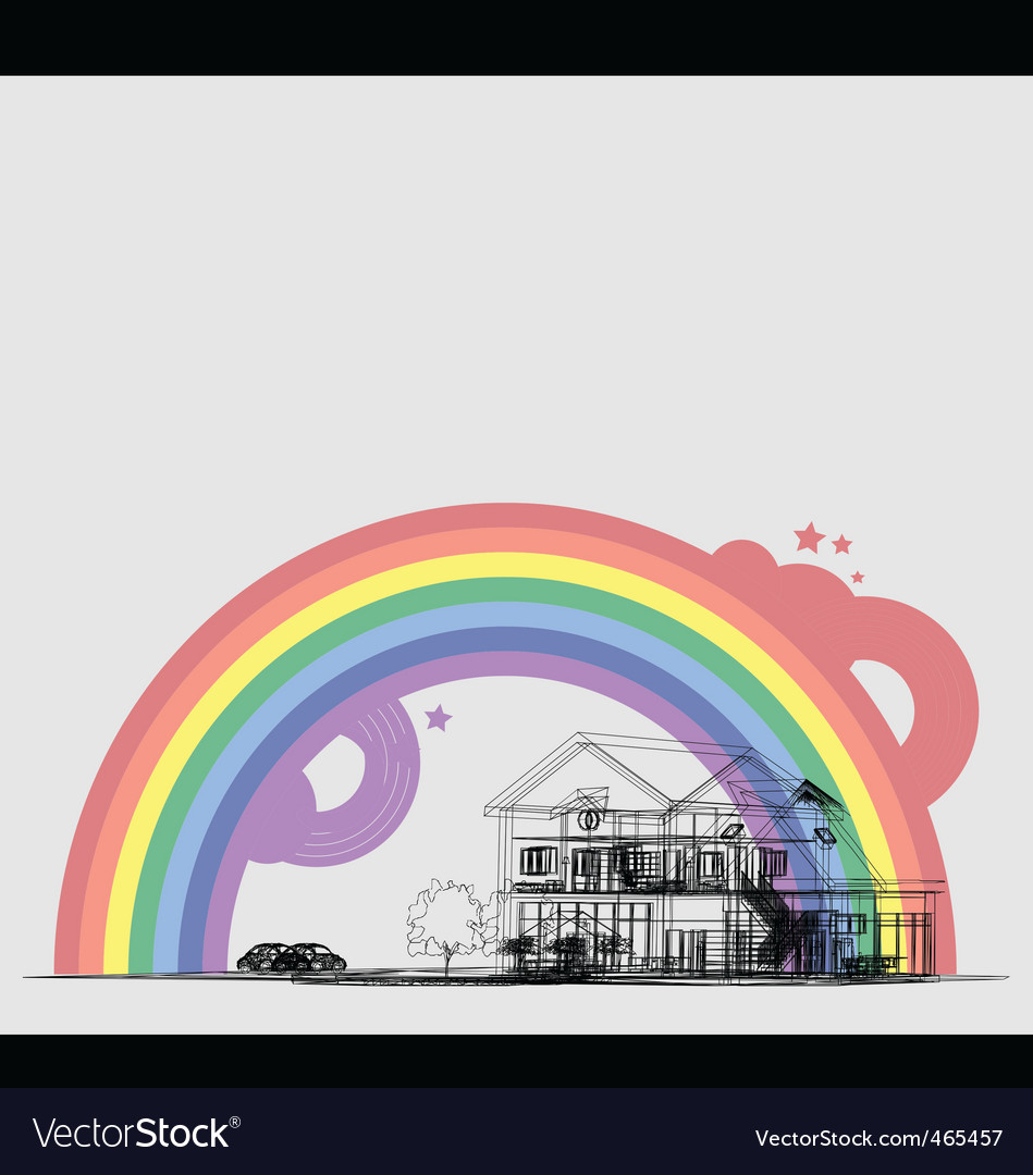 Wireframe of cottage with rainbow vector | Price: 1 Credit (USD $1)