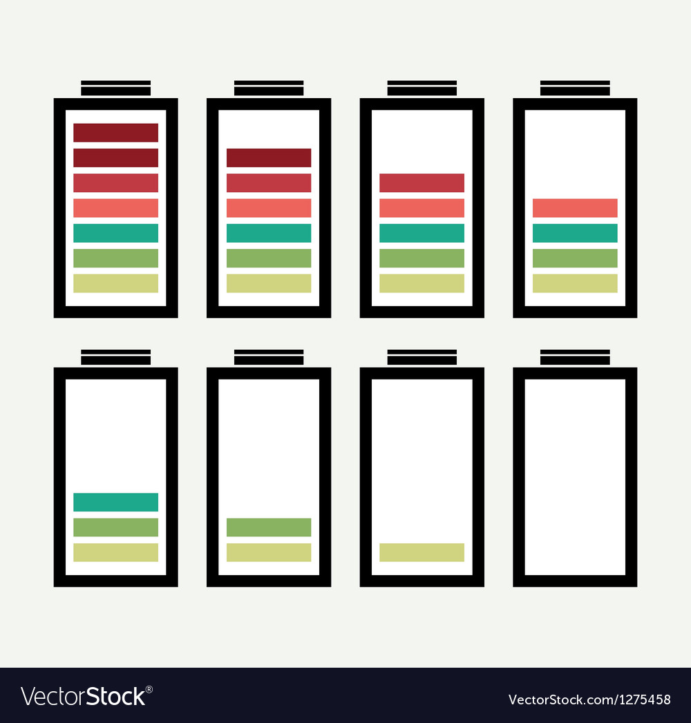 Battery icon with colorful charge level vector   Price: 1 Credit (USD $1)