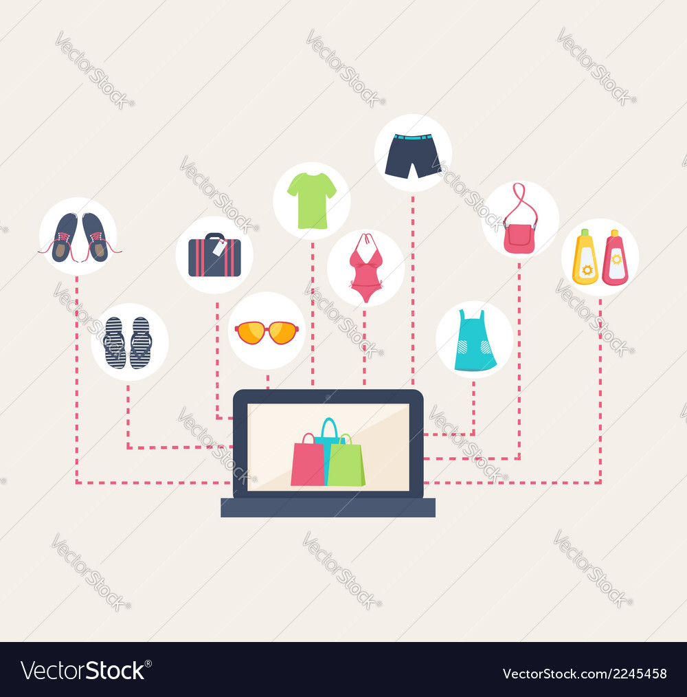 Online shop selling summer clothing vector | Price: 1 Credit (USD $1)