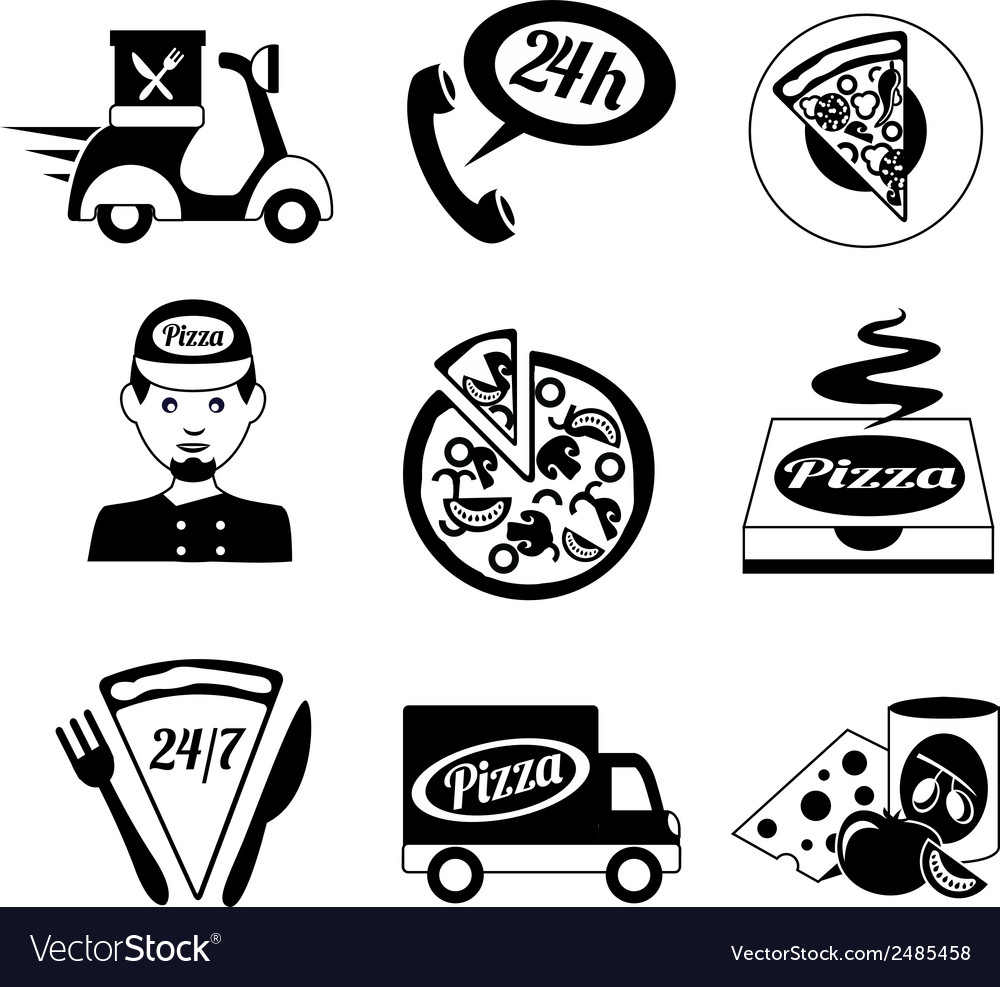 Pizza icons set black and white vector | Price: 1 Credit (USD $1)