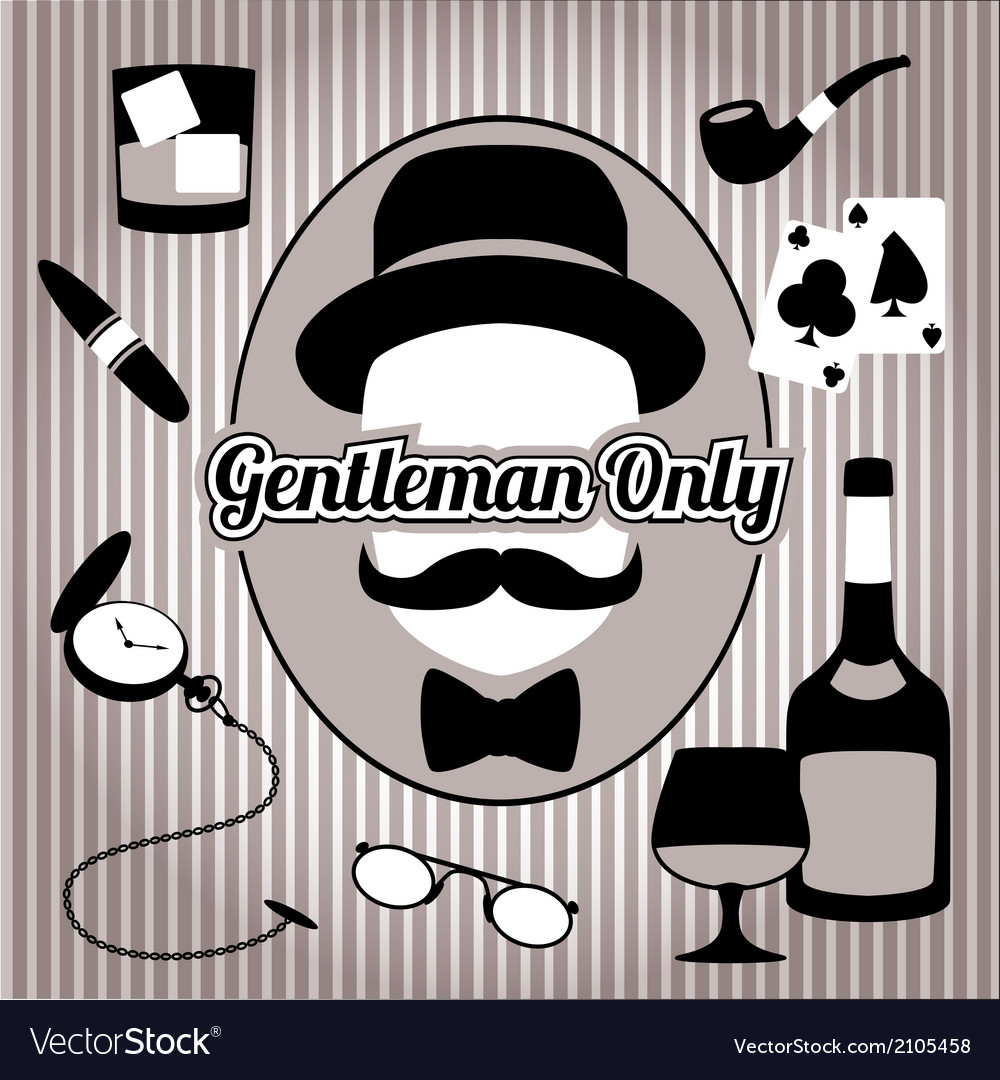 Retro gentleman face and accessories isolated vector | Price: 1 Credit (USD $1)