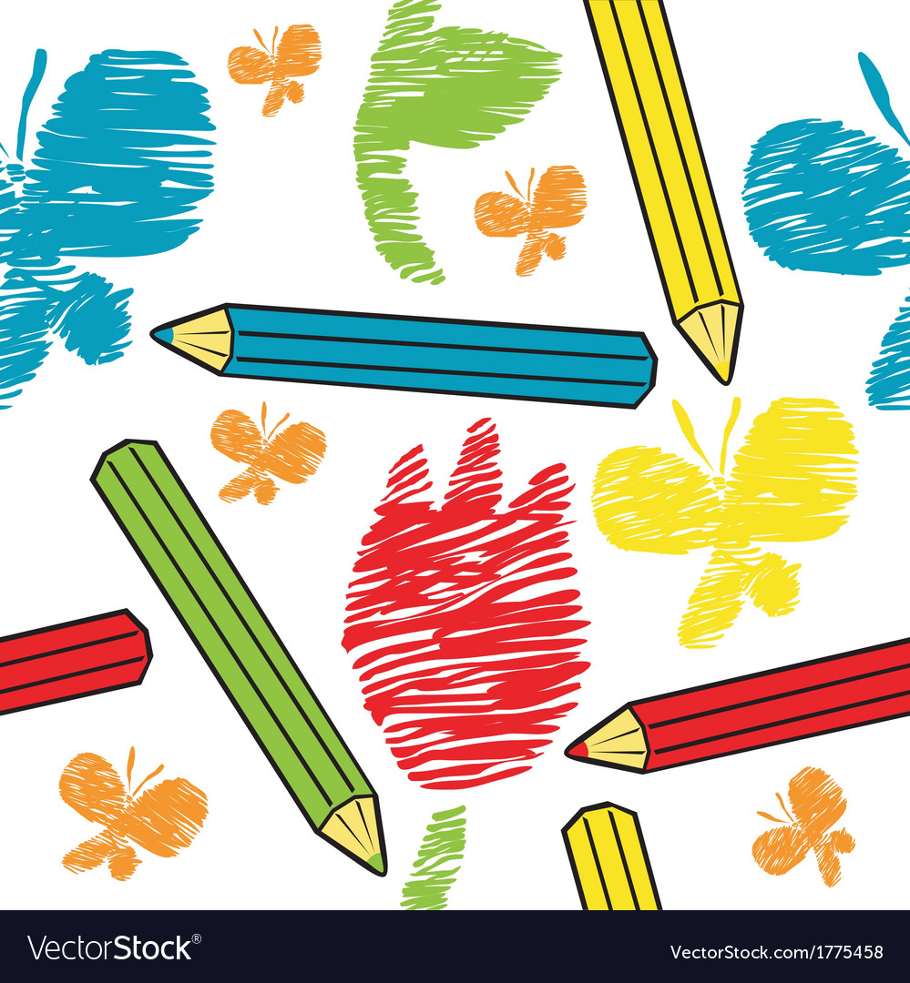 Seamless background pencils and draw vector | Price: 1 Credit (USD $1)