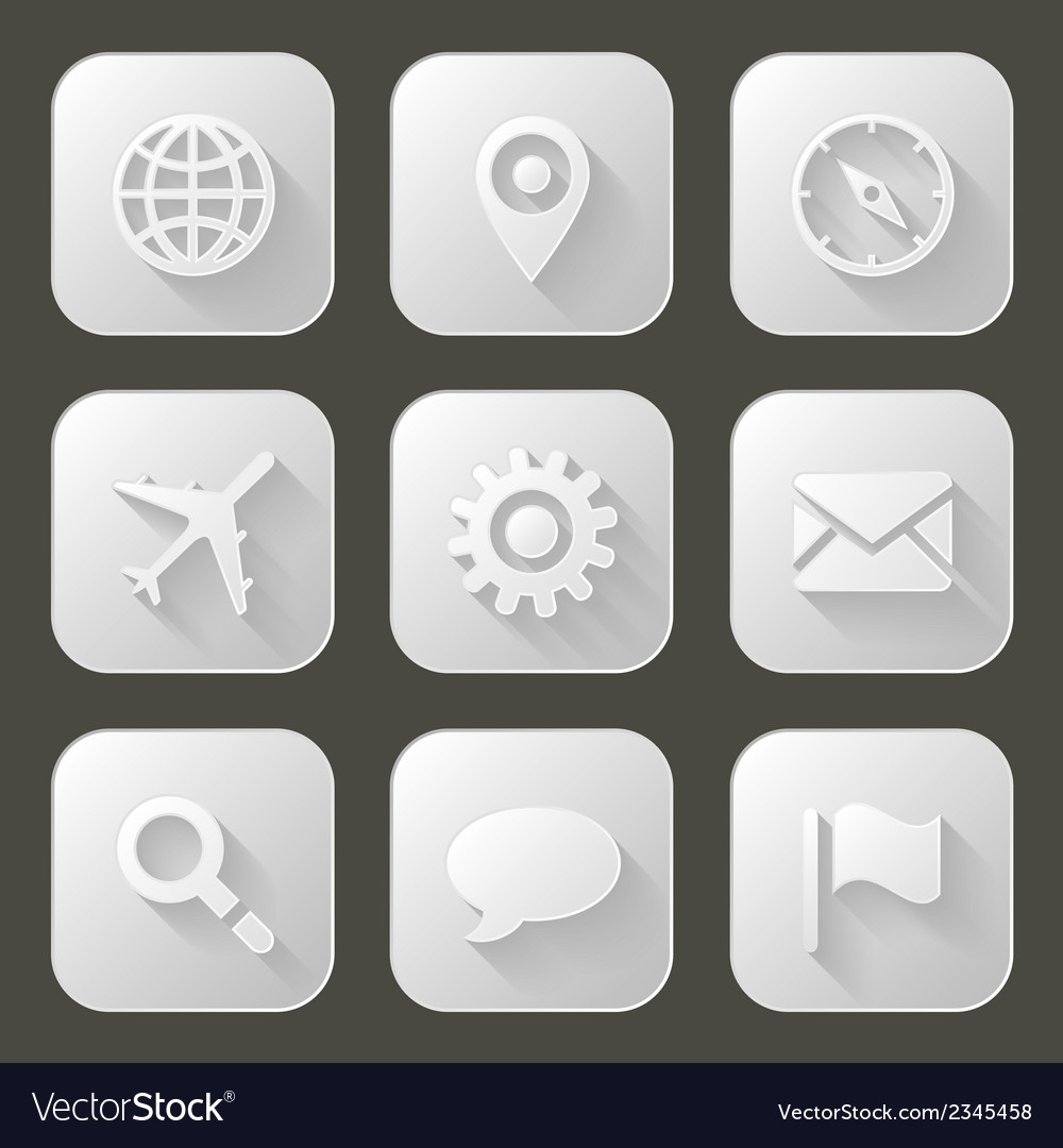 Set of icons with long shadow vector | Price: 1 Credit (USD $1)