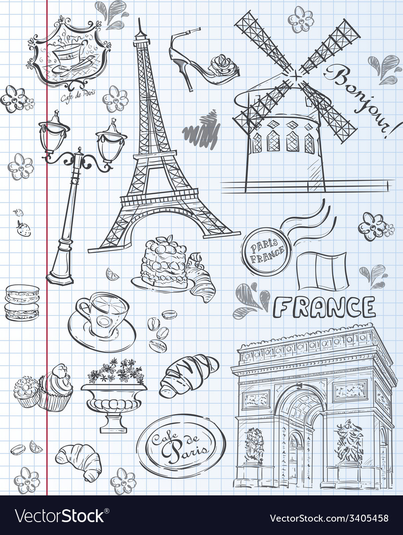Set of images of various attractions paris vector | Price: 1 Credit (USD $1)