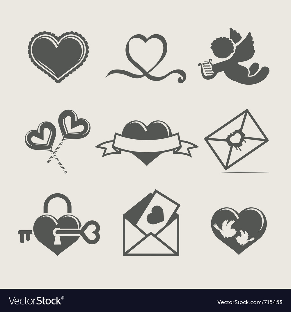 St valentines day set icon vector | Price: 1 Credit (USD $1)