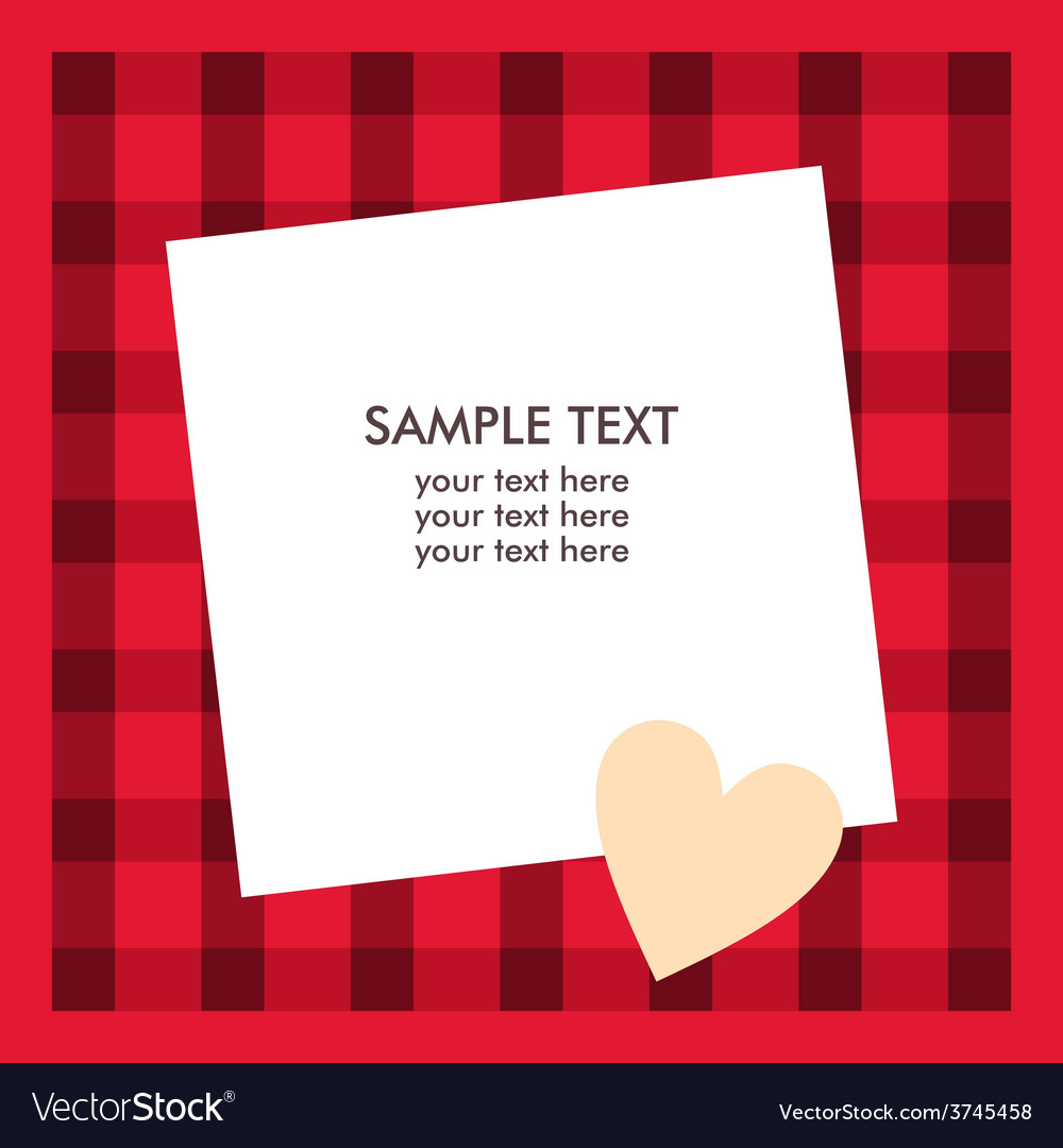 White paper sheet with text on the red checkered vector | Price: 1 Credit (USD $1)