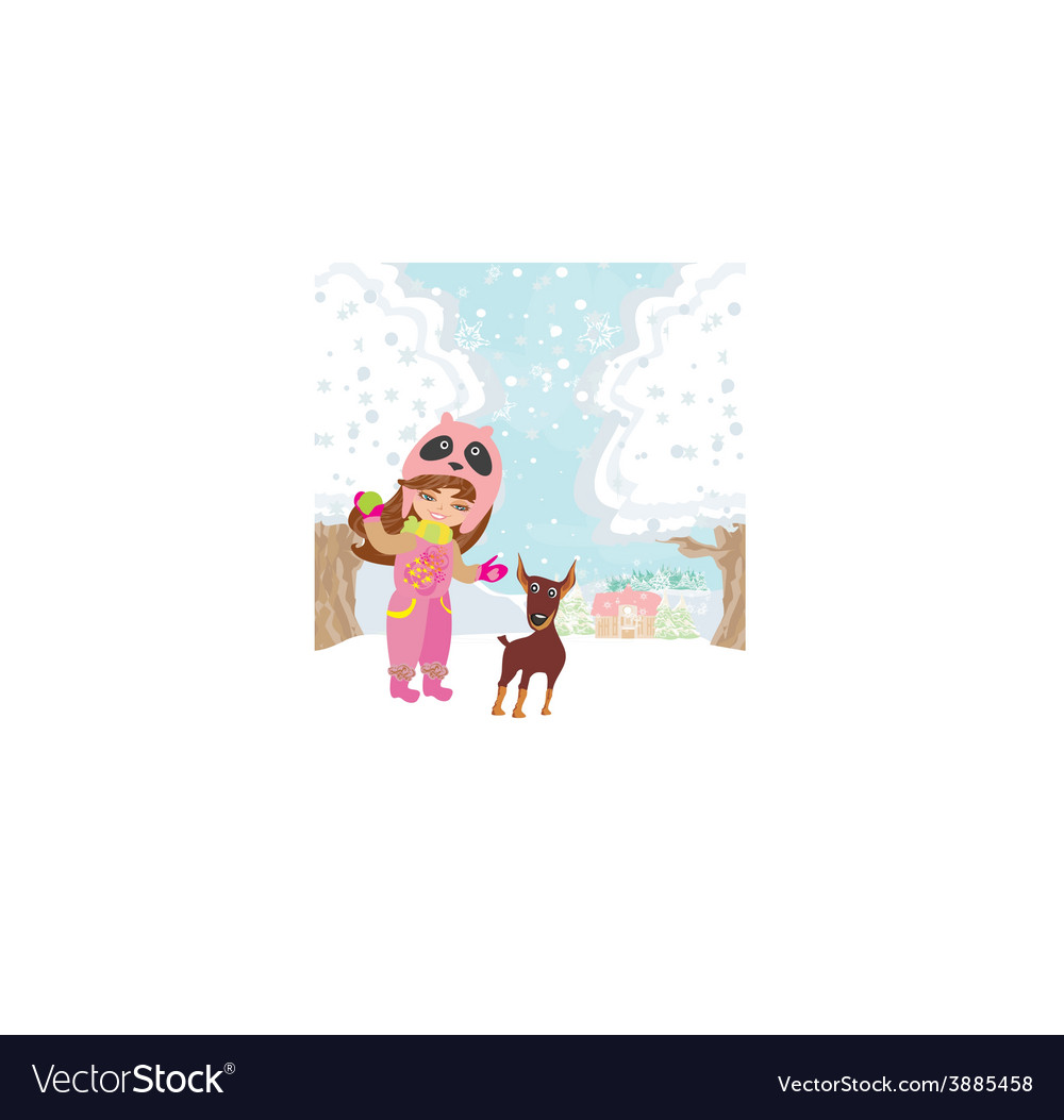 Winter girl and her dog vector | Price: 1 Credit (USD $1)