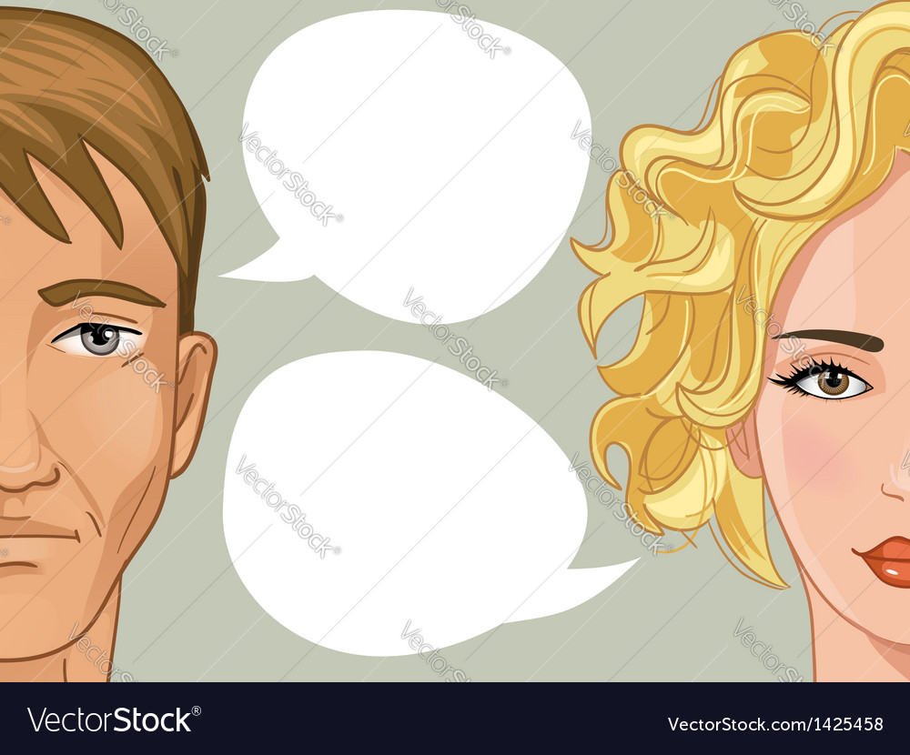 Woman and man with speech bubble vector | Price: 3 Credit (USD $3)