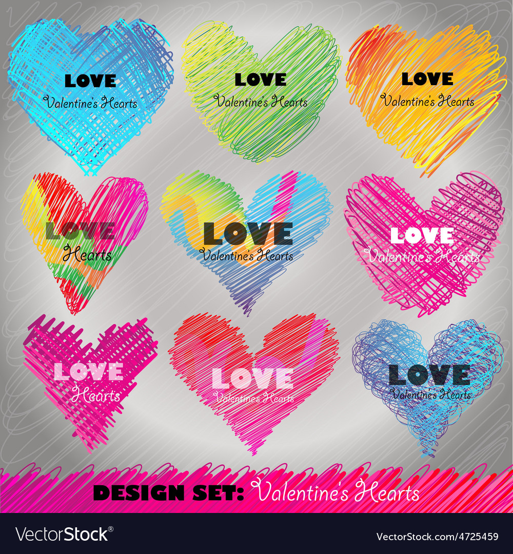 Design set colorful valentines day hearts vector | Price: 1 Credit (USD $1)