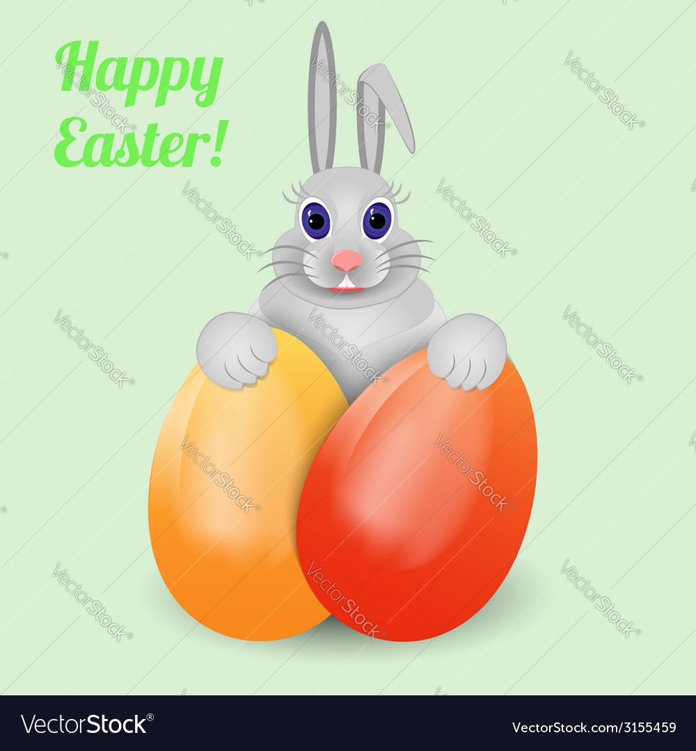 Easter bunny with eggs vector | Price: 1 Credit (USD $1)