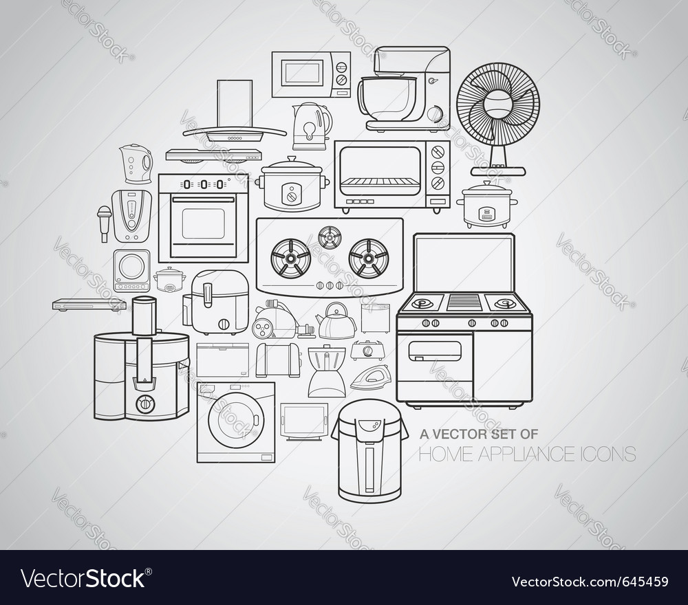 Home appliance icons vector | Price: 1 Credit (USD $1)