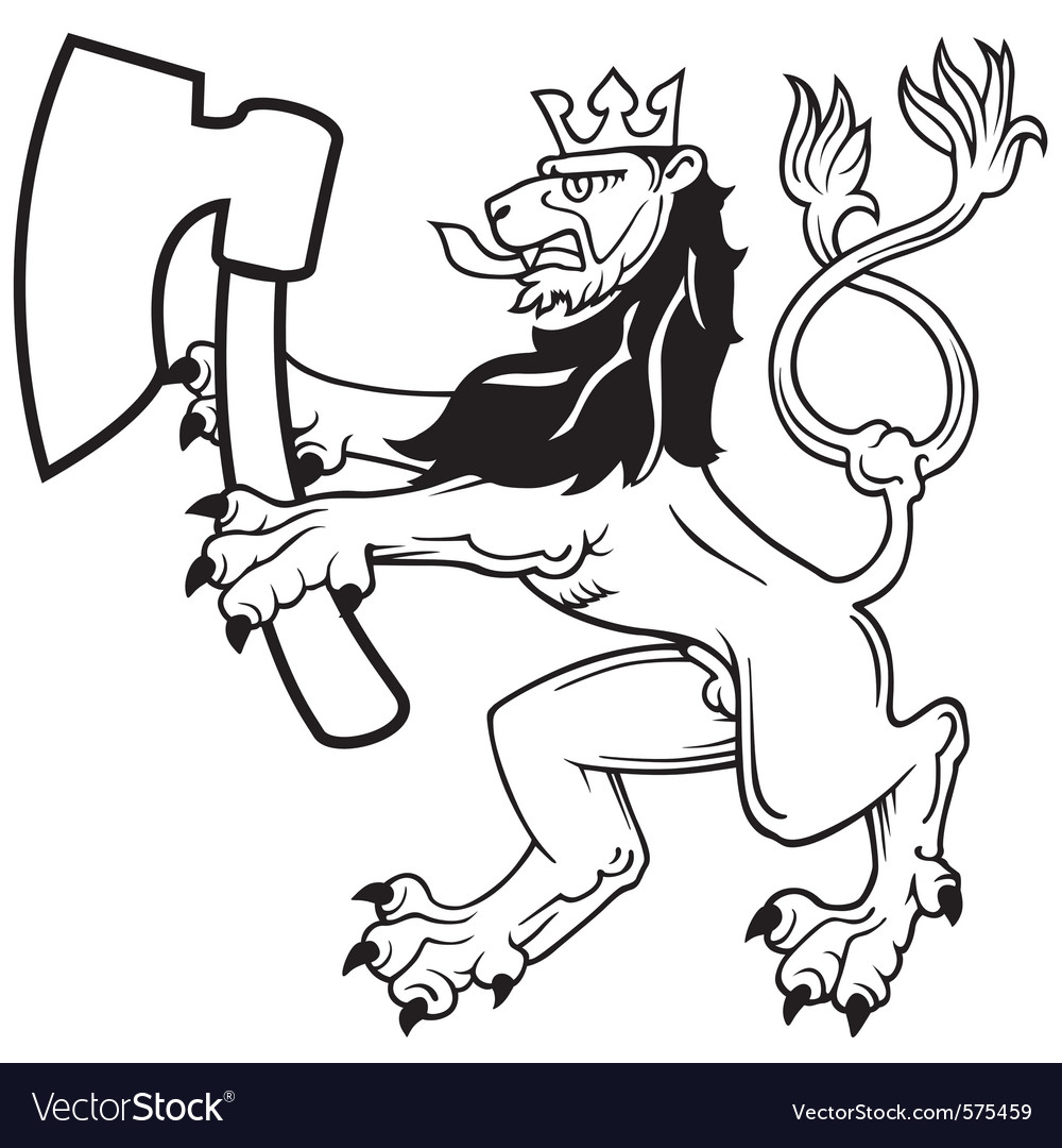 Lion with axe vector | Price: 1 Credit (USD $1)