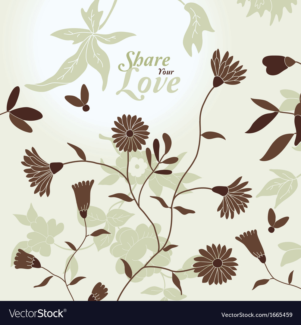 Love flowers elegant card vector | Price: 1 Credit (USD $1)