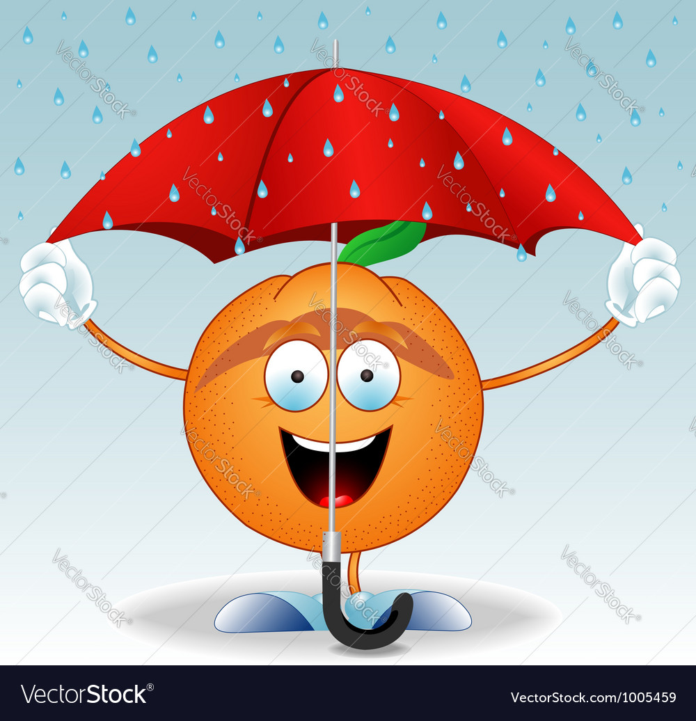 Orange under an umbrella vector | Price: 1 Credit (USD $1)