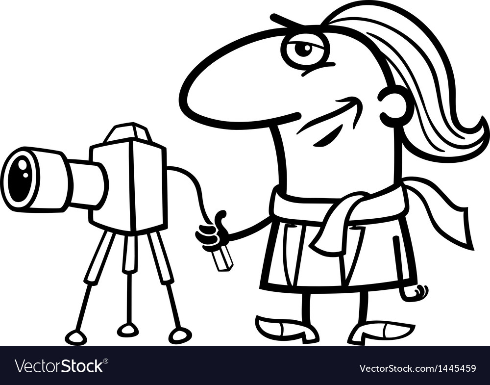 Photographer cartoon coloring page vector | Price: 1 Credit (USD $1)