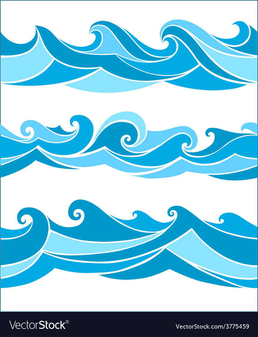 Set vektor seamless waves vector | Price: 1 Credit (USD $1)