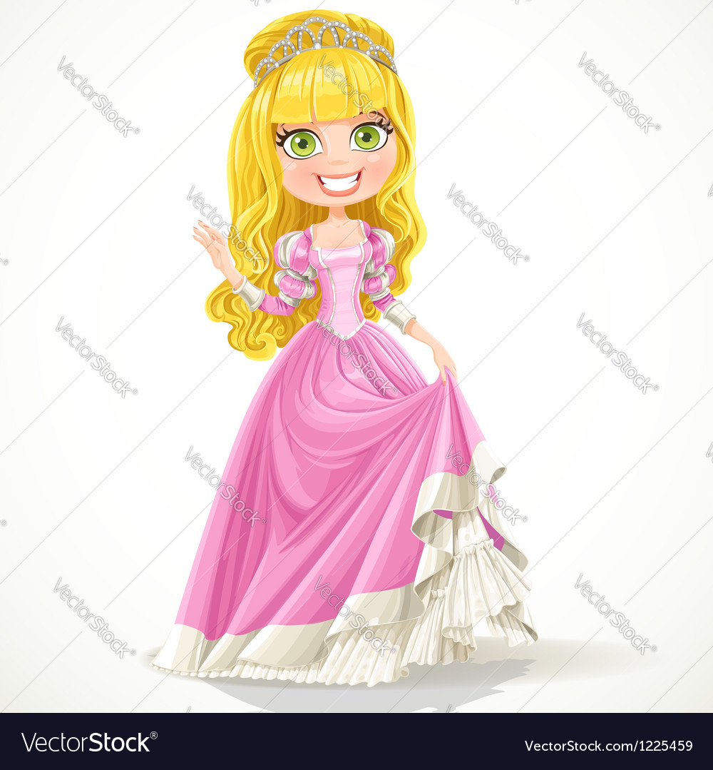 Sweet young princess in a pink ball dress vector | Price: 3 Credit (USD $3)