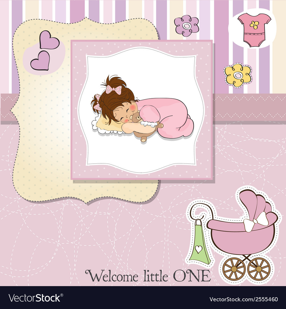 Baby shower card with little baby girl play with vector | Price: 1 Credit (USD $1)