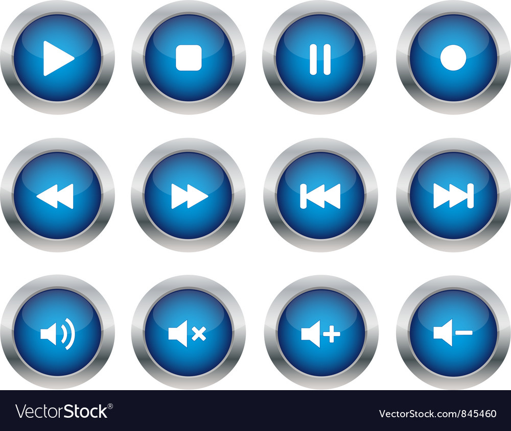 Blue multimedia buttons vector | Price: 1 Credit (USD $1)
