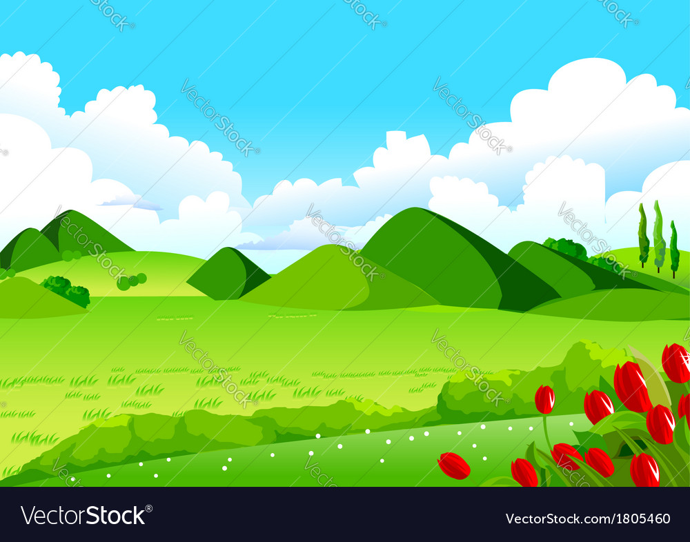 Blue sky green fields and distant hills vector | Price: 1 Credit (USD $1)