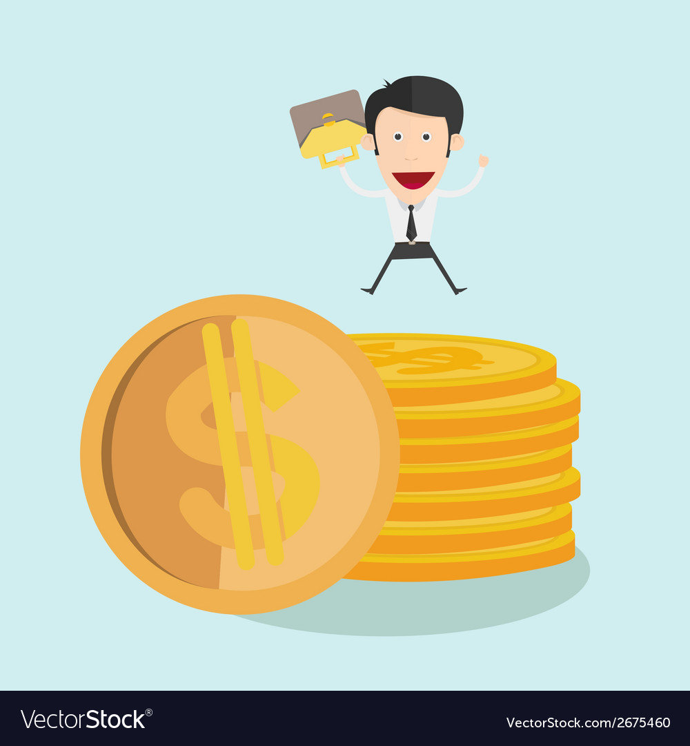 Businessman jump over coin stack vector | Price: 1 Credit (USD $1)