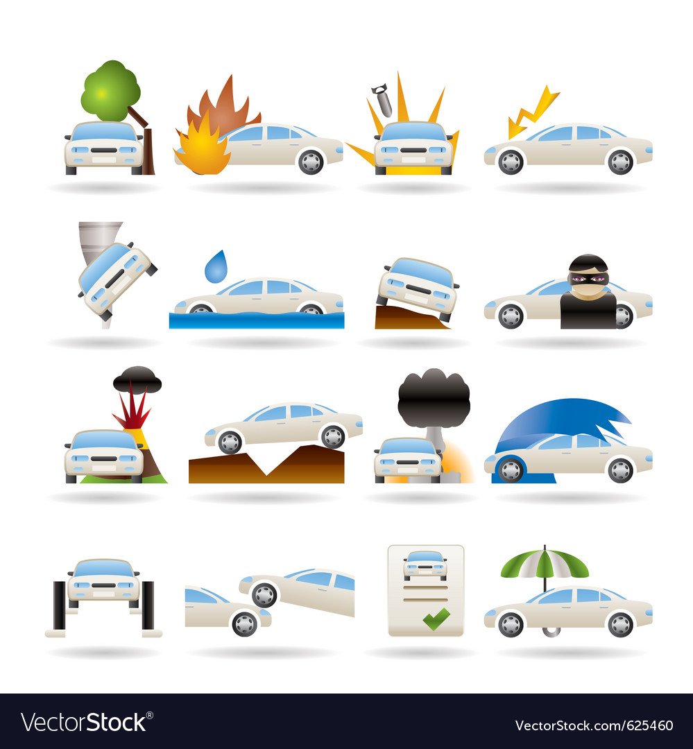 Car and transportation insurance and risk icons vector | Price: 3 Credit (USD $3)
