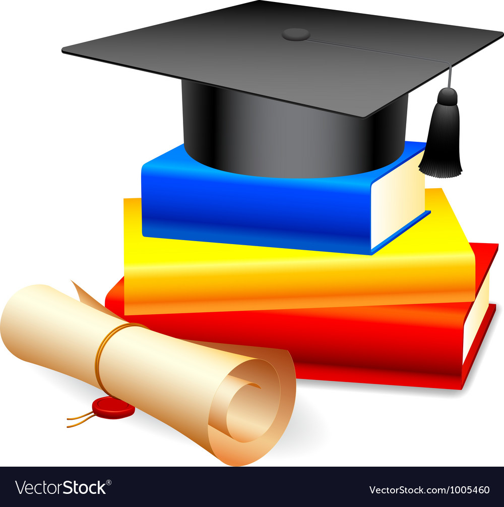Graduation cap and books vector | Price: 1 Credit (USD $1)