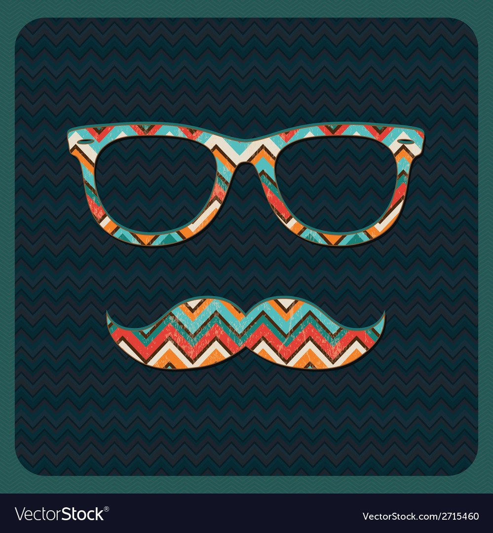 Hipster icon with geometric grunge background vector | Price: 1 Credit (USD $1)