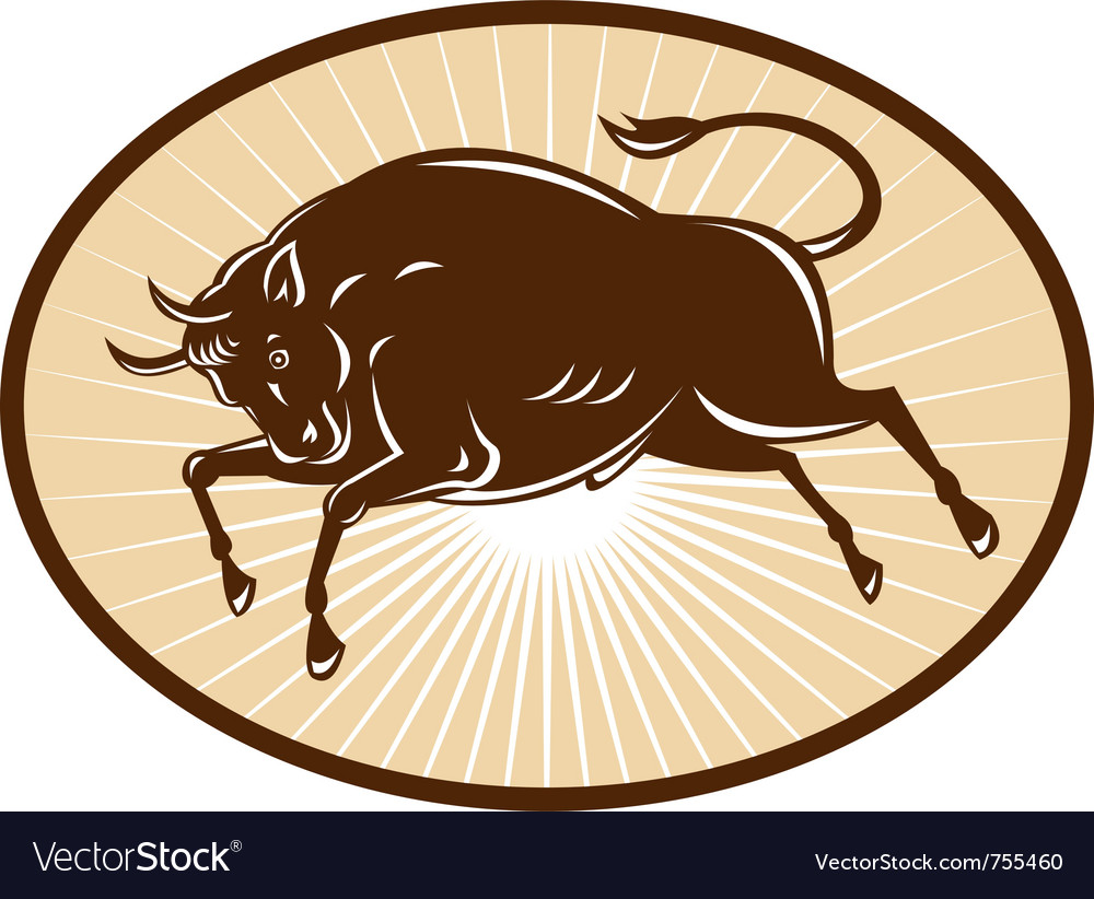 Raging bull attacking woodcut style vector | Price: 1 Credit (USD $1)