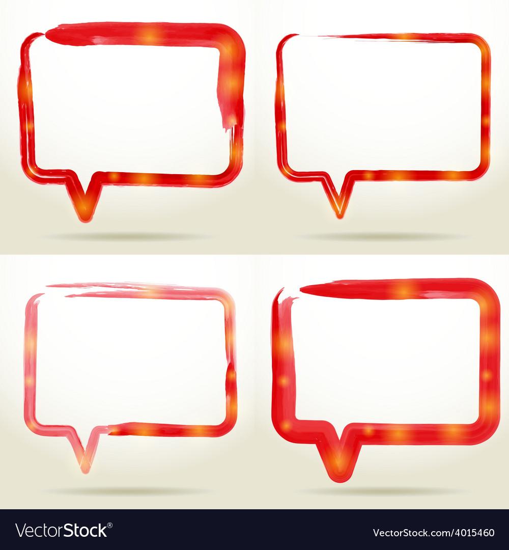 Set blank empty white speech bubbles watercolor vector | Price: 1 Credit (USD $1)