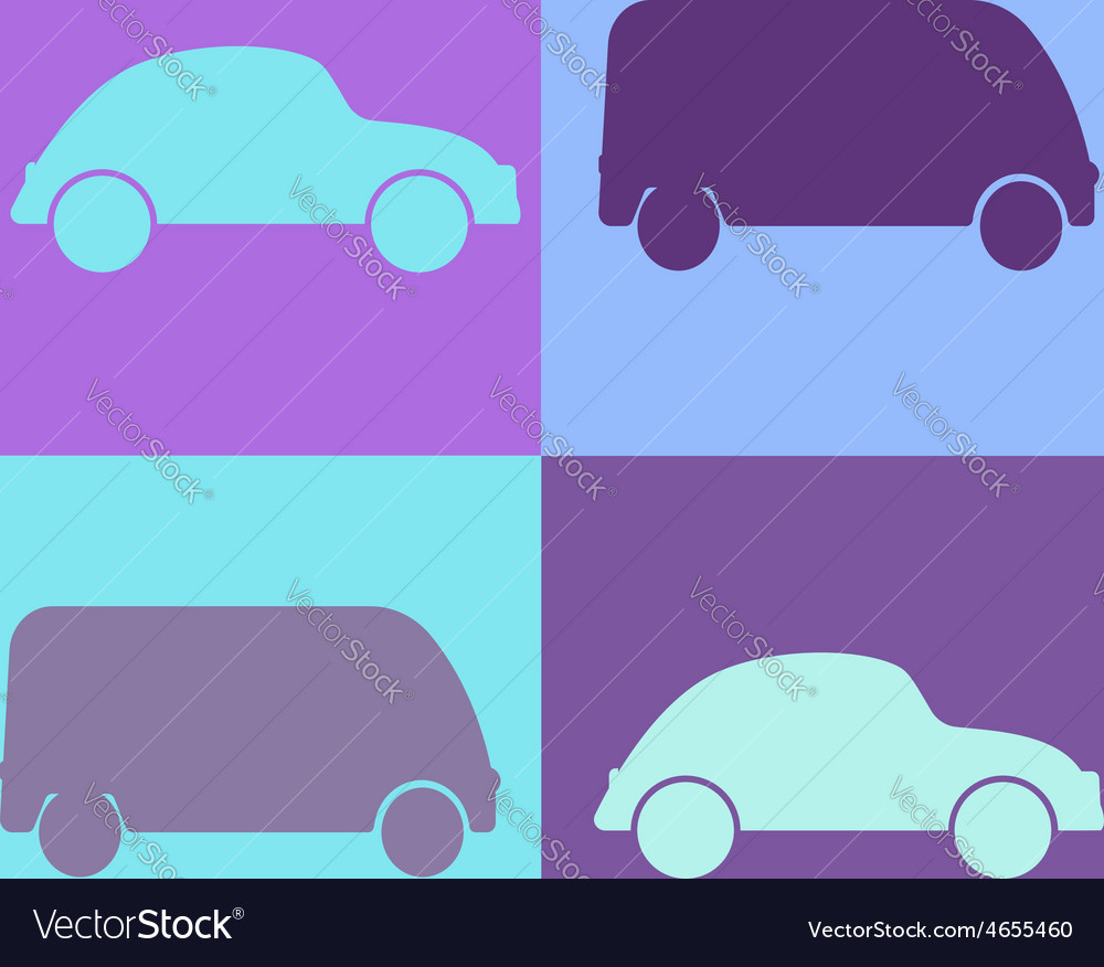 Set cartoon cars  background vector