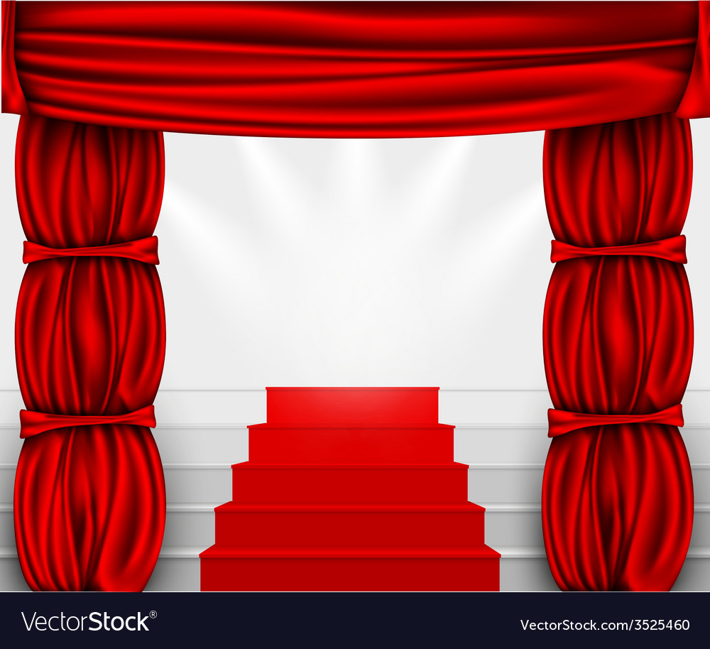 Silk curtain with columns and stairs to the podium vector | Price: 1 Credit (USD $1)