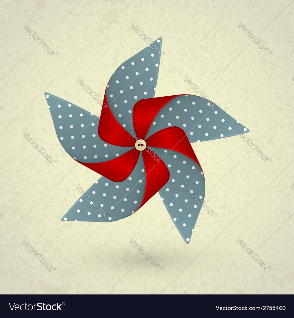 Vintage handmade red and blue pinwheel with dots vector | Price: 1 Credit (USD $1)