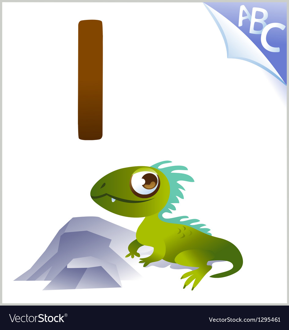 Animal alphabet for the kids i for the iguana vector | Price: 1 Credit (USD $1)
