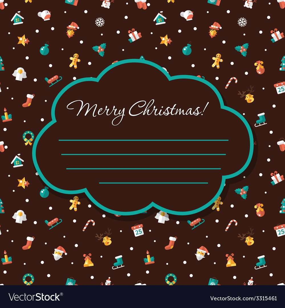 Christmas and happy new year flat design postcar vector | Price: 1 Credit (USD $1)