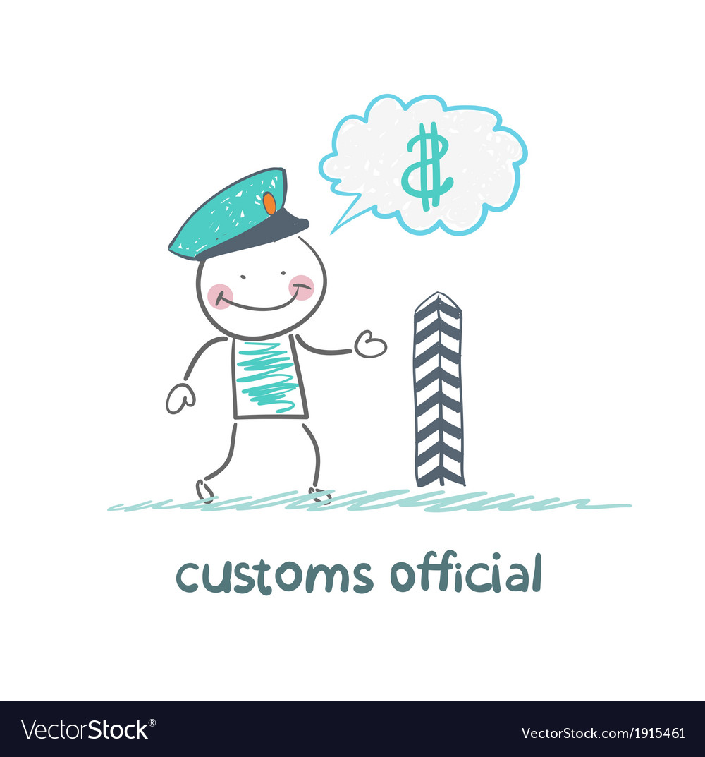 Customs officer thinks about money vector | Price: 1 Credit (USD $1)