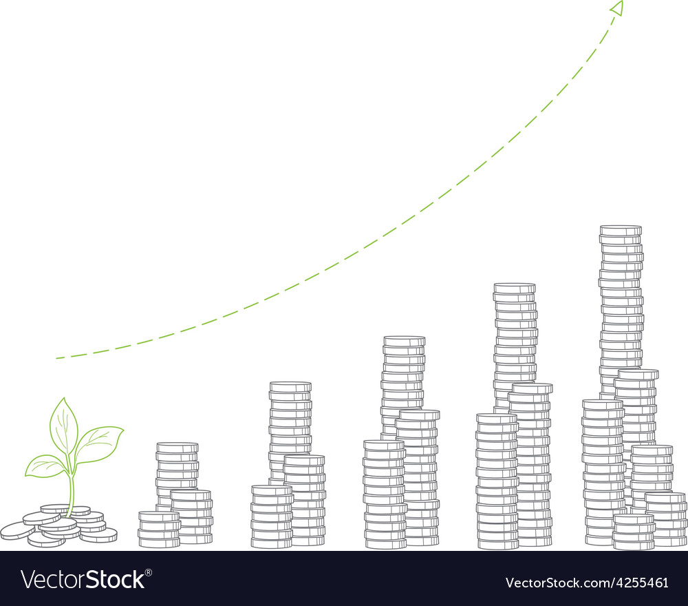 Financial money growth stacks of coins and vector | Price: 1 Credit (USD $1)