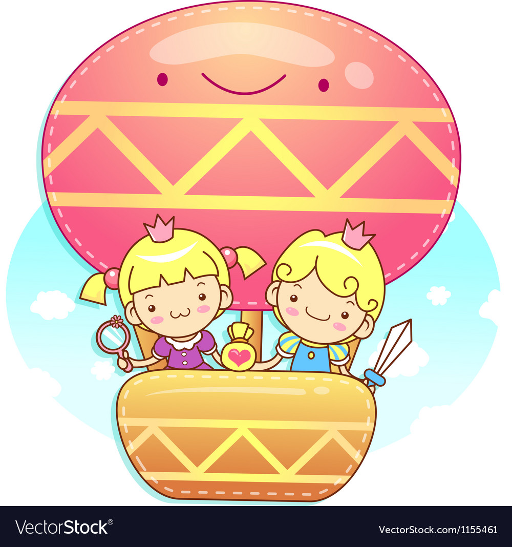 The fun a balloon prince and princess mascot vector | Price: 1 Credit (USD $1)