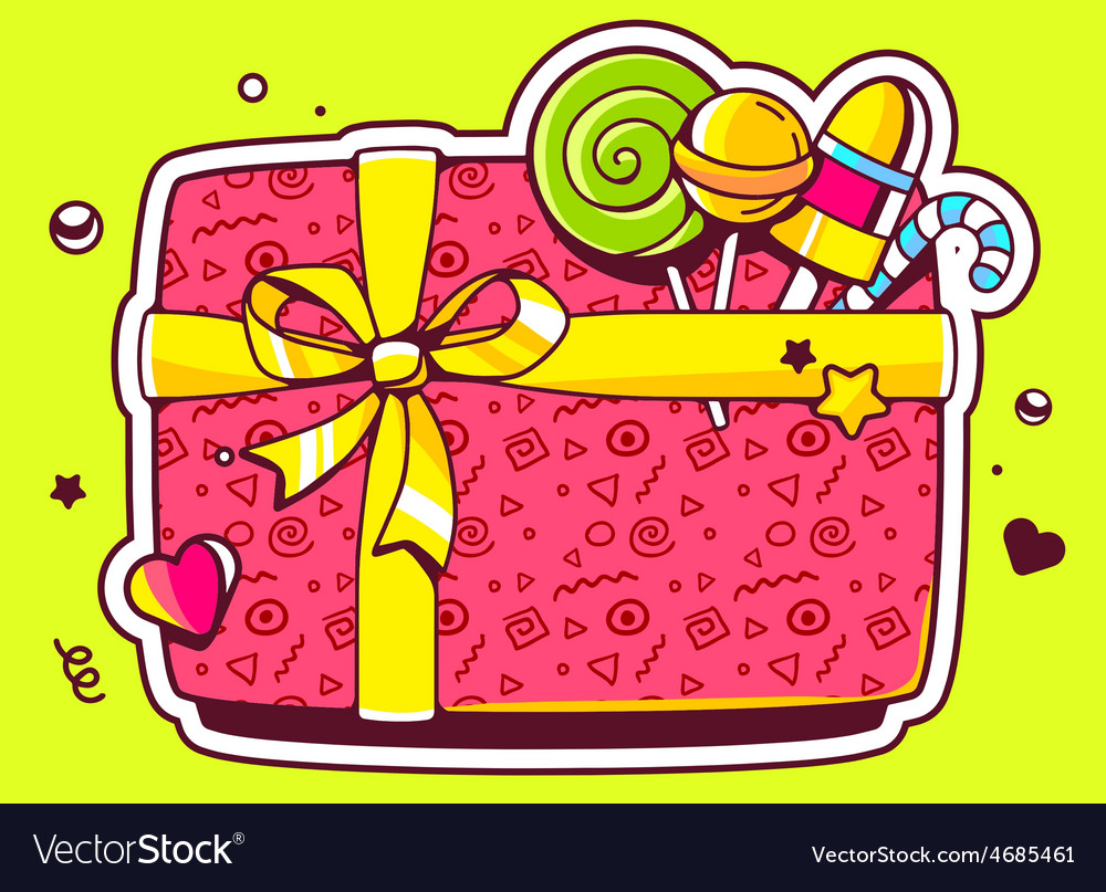 Gift box top view and confectionery on gr vector | Price: 3 Credit (USD $3)