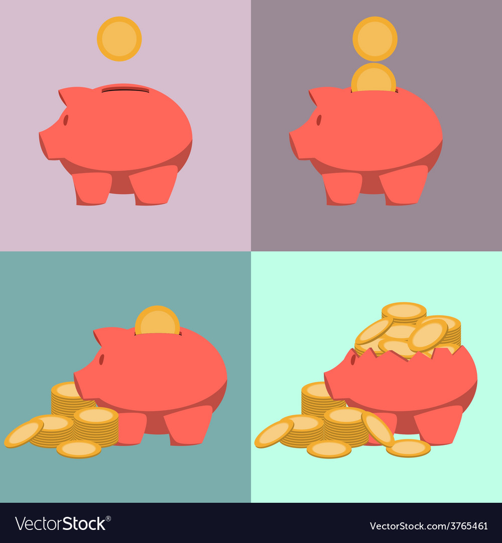 Piggy bank icon in style of flat design vector | Price: 1 Credit (USD $1)