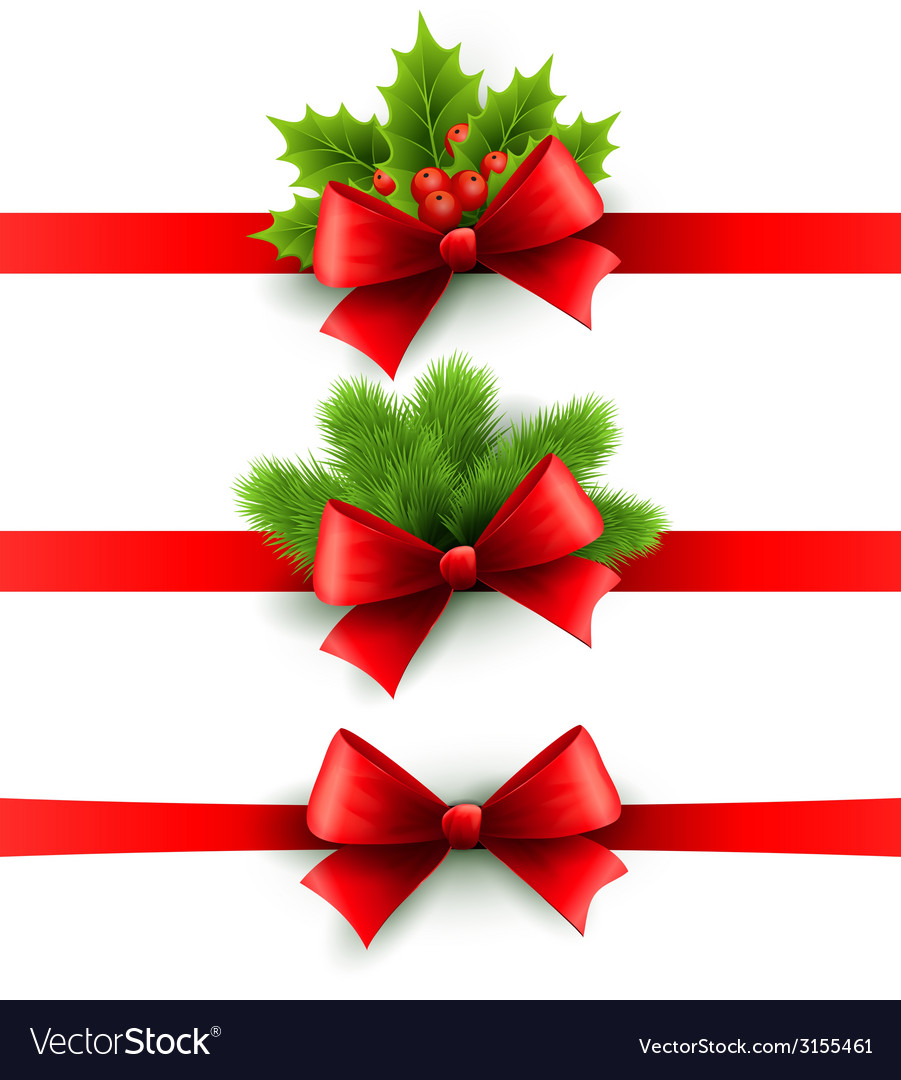 Red holiday ribbon with bow holly and pine vector | Price: 1 Credit (USD $1)