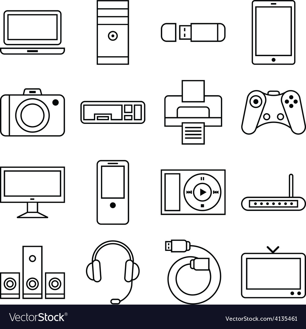 Set of linear icons computer and other equipment vector | Price: 1 Credit (USD $1)
