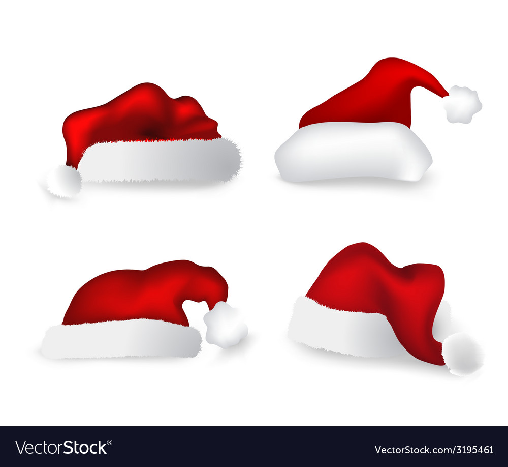 Various christmas caps set vector | Price: 1 Credit (USD $1)