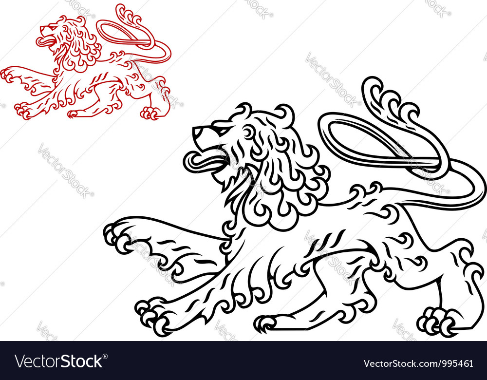 Vintage medieval lion silhouette vector | Price: 1 Credit (USD $1)