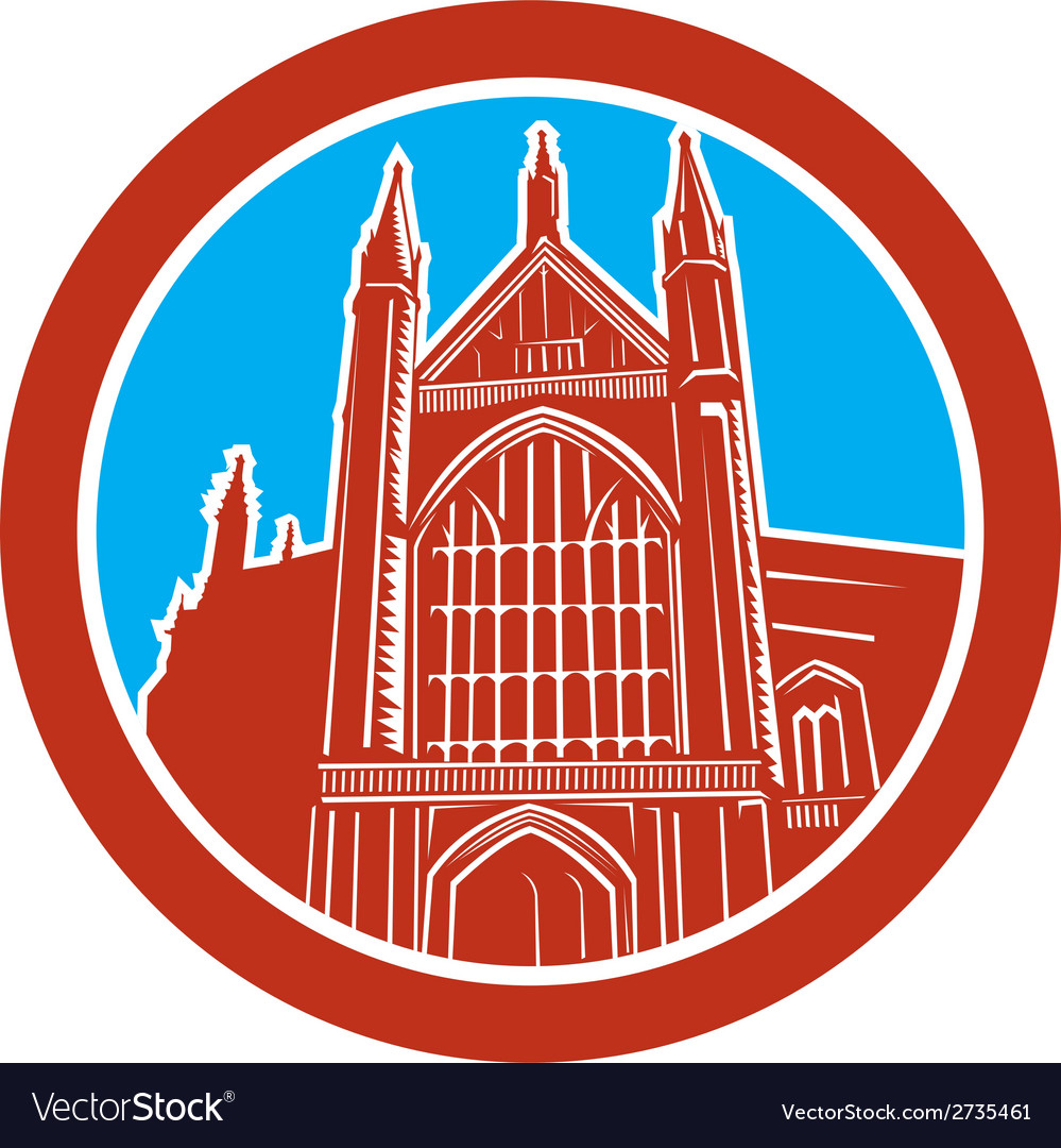 Winchester cathedral woodcut retro vector | Price: 1 Credit (USD $1)