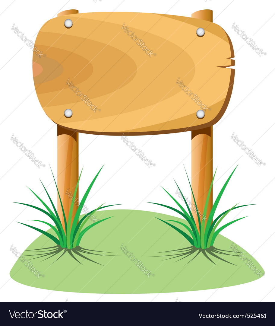 Wooden element and grass vector | Price: 1 Credit (USD $1)