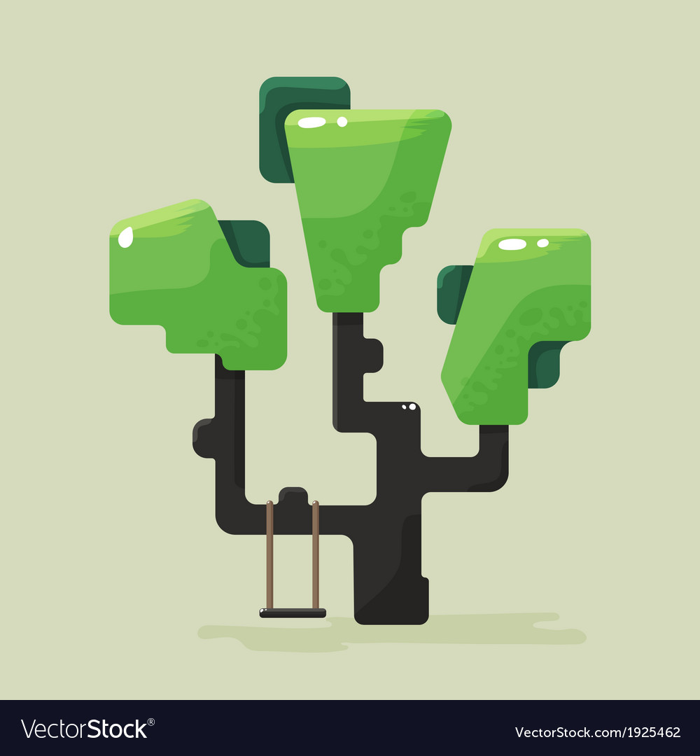 A flat tree with green foliage vector | Price: 1 Credit (USD $1)