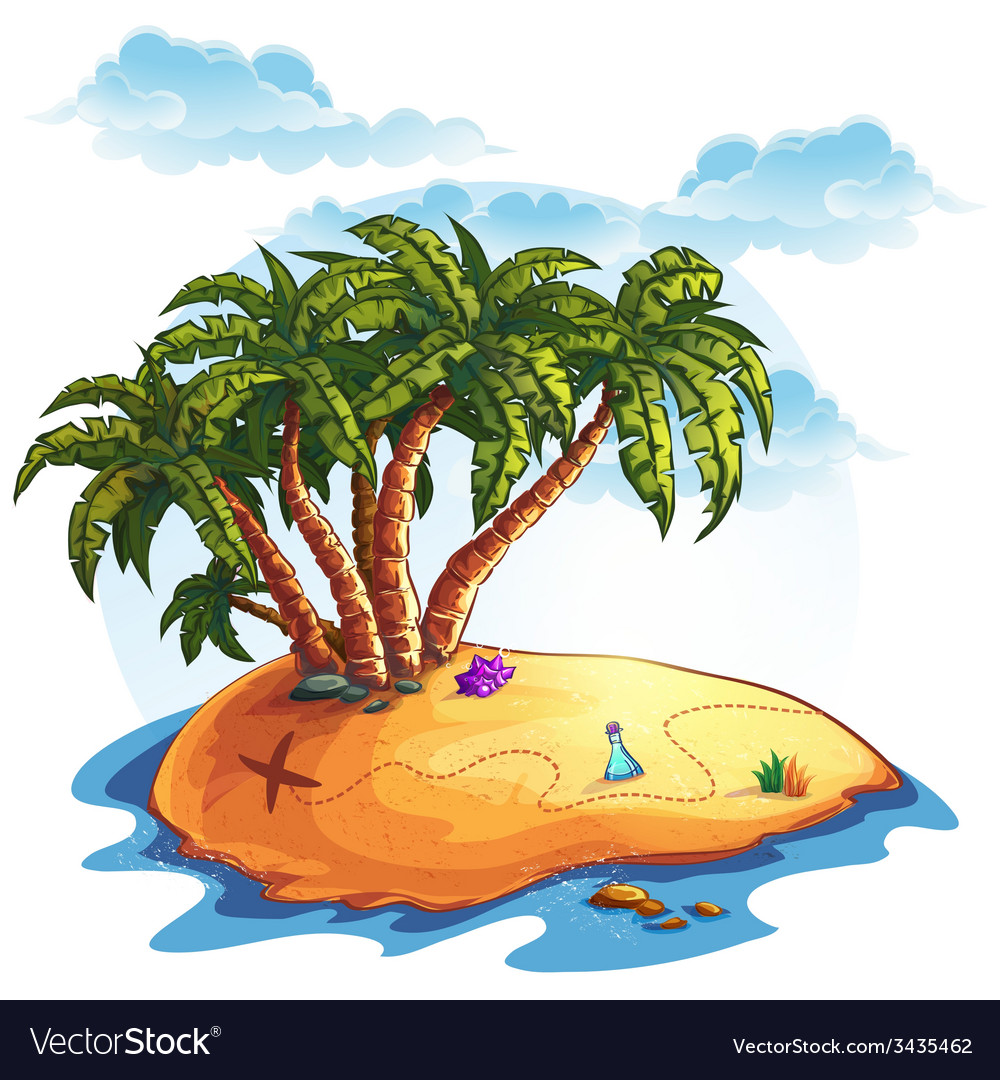 Island with palm trees and treasures vector | Price: 3 Credit (USD $3)